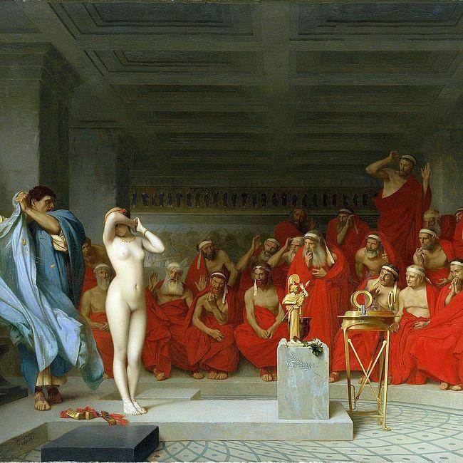 Суд над гетерой Фриной пообвинению вкощунстве, выразившемся впозировании скульптору Праксителю для статуи богини Афродиты, Афины, 340 г. дон.э.